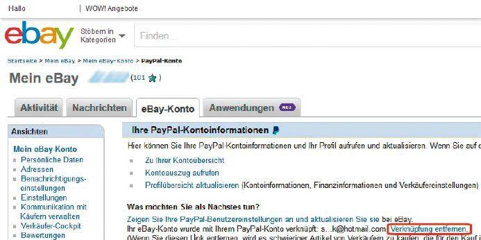Paypal Verknüpfungen Löschen