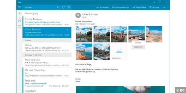 So bedienen Sie Outlook mit Windows 10.