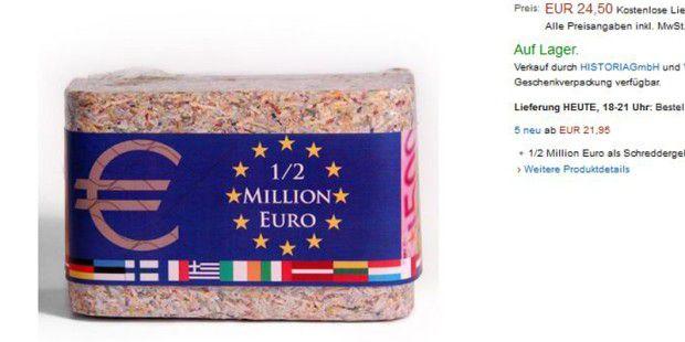 500.000 Euro in Form von Schreddergeld - es gibt noch mehr verrückte Angebote bei Amazon