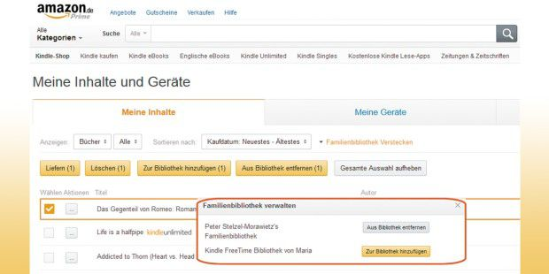 Unlike in the United States, German Amazon customers confer no purchased eBooks to friends.