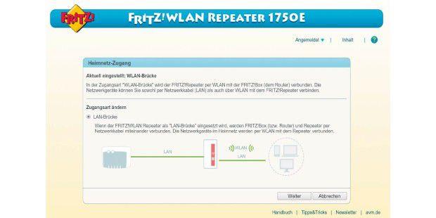 Arbeitet der Repeater als LAN-Brücke, lässt sich die Reichweite des Heimnetzes per Netzwerkkabel erhöhen.