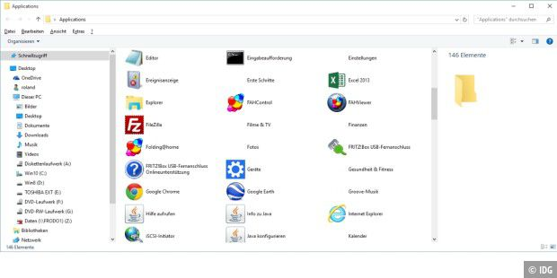 Alle Windows 10-Apps in einem Ordner.