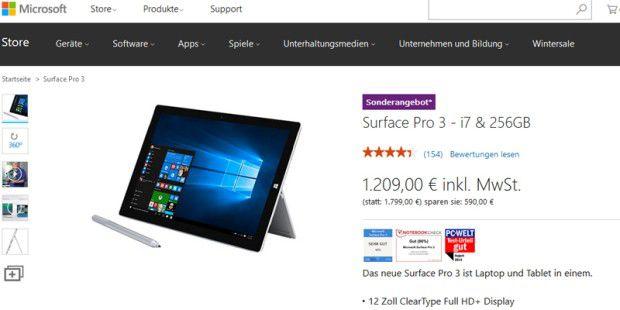 Surface Pro 3 mit Core i7 aktuell 590 Euro günstiger