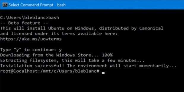 Das Windows Subsystem for Linux (WSL) alias Linux-Bash unter Windows 10