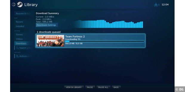 Download eines Spiels via Steam