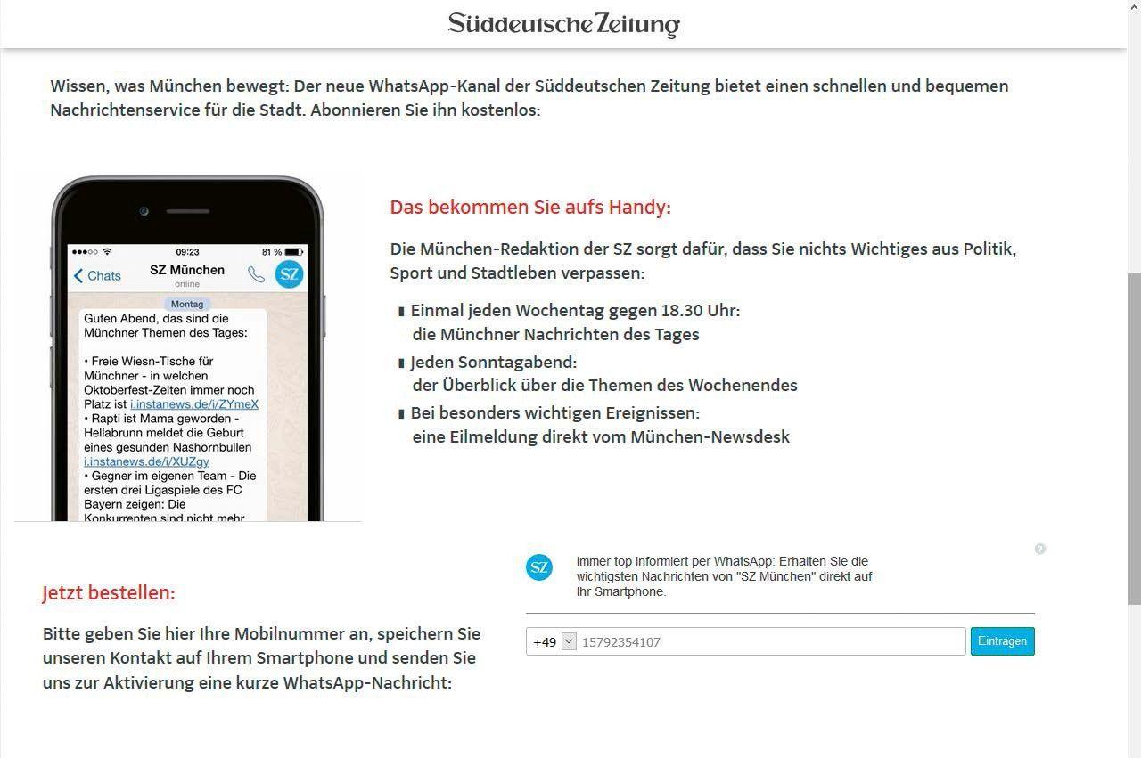 4be3be71b961c Vergrößern Auf diversen Nachrichtenseiten – wie zum Beispiel der  Süddeutschen Zeitung – lässt sich ein Whatsapp- Newsletter abonnieren.