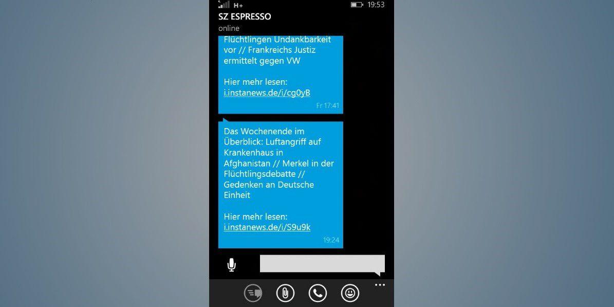 7fb0af3a7824b Vergrößern Push-Nachrichten über Whatsapp – wie hier von der Süddeutschen  Zeitung – sind praktisch. Möchte man den Dienst stornieren