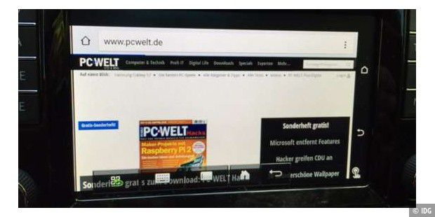 pcwelt.de im Chrome-Browser unter Mirrorlink