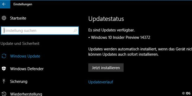 Windows10 Insider Preview Build 14372 geht an die Tester