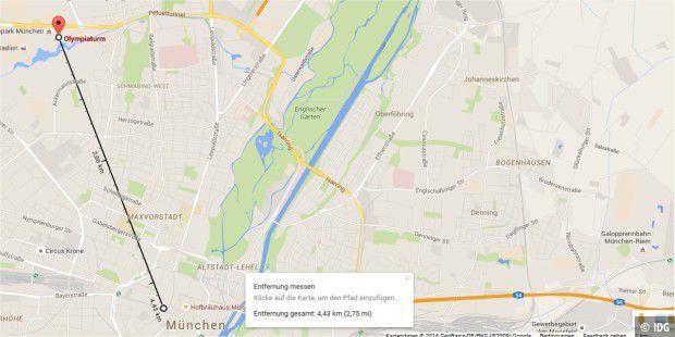 Google Maps: Luftlinie, Strecken und Flächen messen - PC-WELT