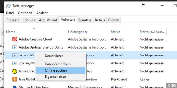 Autostart-Fenster in Windows 10