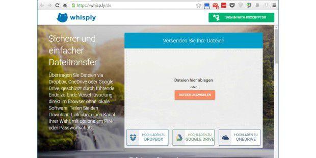 Mit dem Online-Tool Whisply tauschen Sie Dateien verschlüsselt aus, ohne Software installieren zu müssen. Sie brauchen dem Empfänger nur das Passwort und einen Link mitzuteilen.