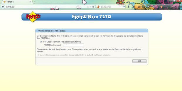 Login der Fritzbox in Firefox