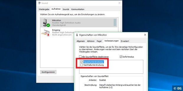 Mikrofon Rauschunterdrückung Windows 10