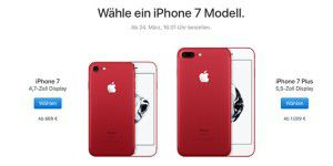 iPhone 7 jetzt als Product Red, SE mit 32 GB