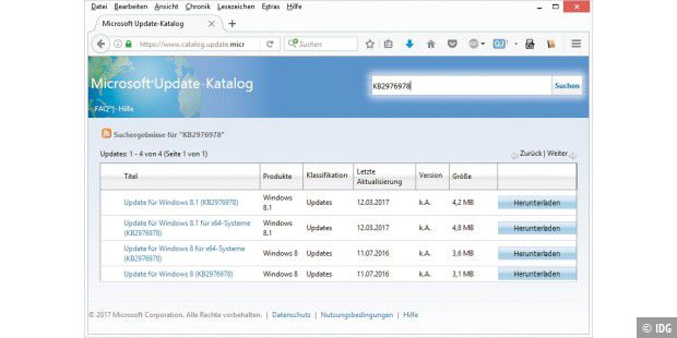 Direkter Download: Über den Microsoft Update-Katalog laden Sie einzelne Windows-Updates manuell auf Ihren Rechner herunter. Das lässt sich für einen Test des Proxy-Servers nutzen.