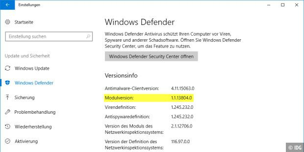 Windows Defender nach dem Update