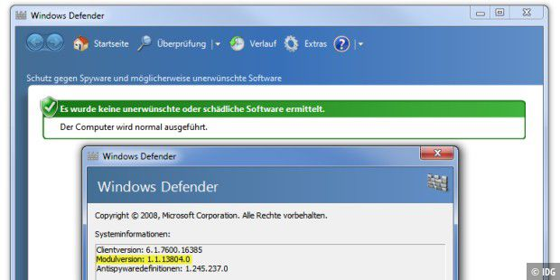 Windows Defender (Windows 7) nach dem Update