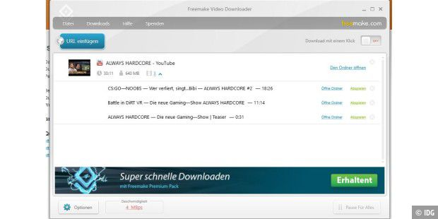 Mit Freemake Video Download können Sie auch komplette Youtube-Playlists herunterladen