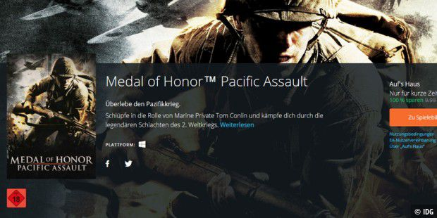 Aktuell gratis erhältlich: Medal of Honor Pacific Assault