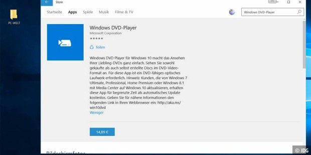 Teuer: Die App Windows DVD-Player kostet stolze 14,89 Euro.