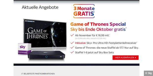 Sky Angebot für Game of Thrones