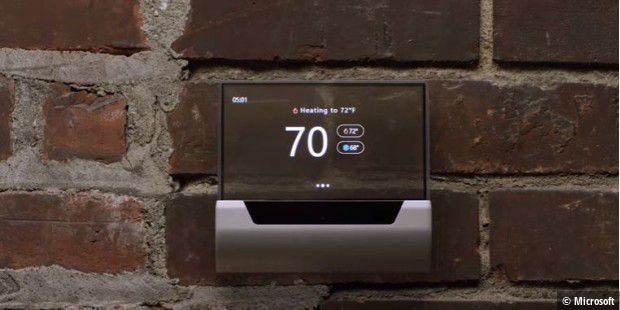 Microsoft GLAS Transparenter Thermostat mit Cortanta-Sprachsteuerung