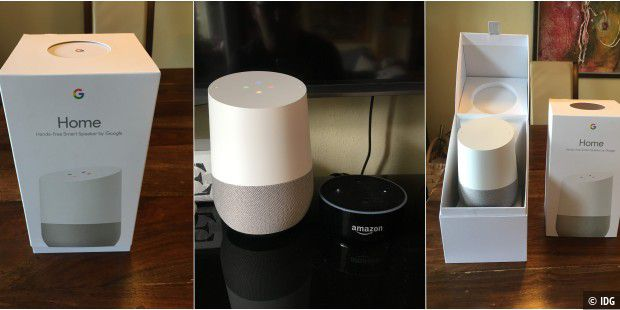 Google Home neben Amazon Echo Dot