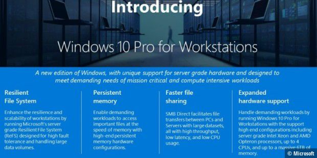 Microsoft hat Windows 10 Pro for Workstations angekündigt