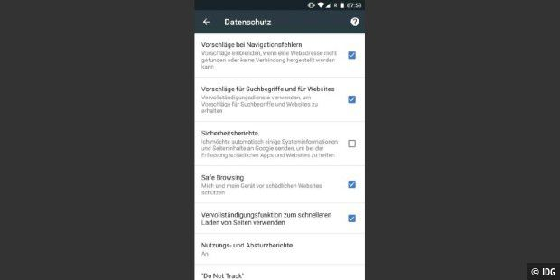 'Safe Browsing' warnt vor verdächtigen Websites.