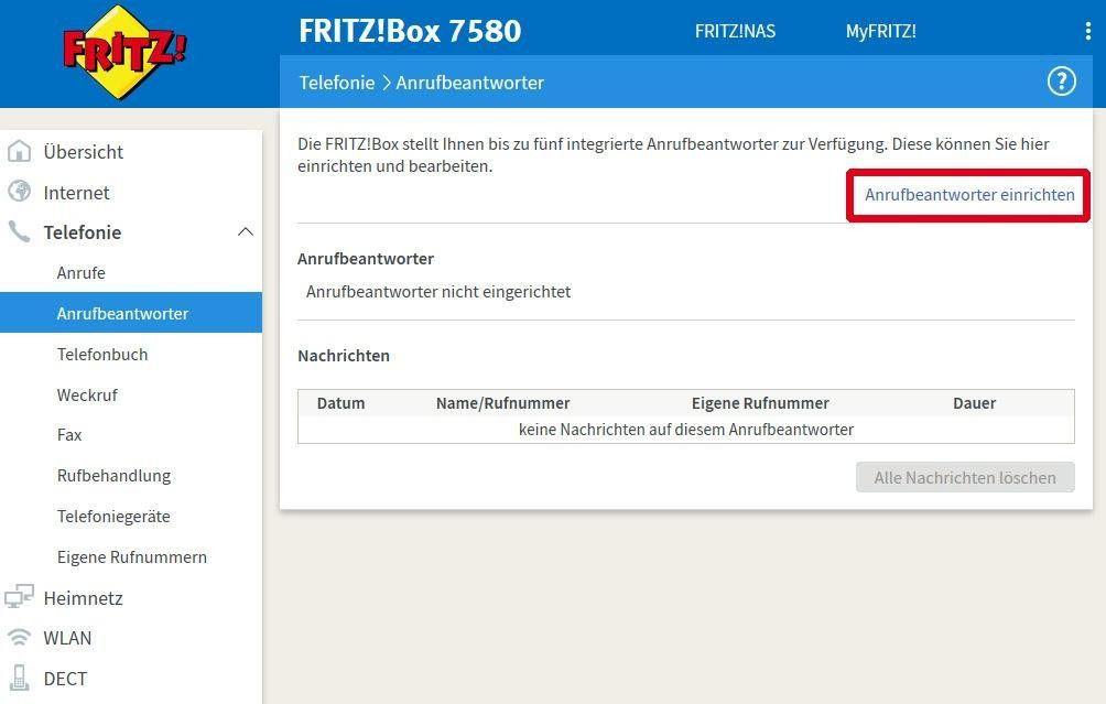 fritzbox anrufbeantworter