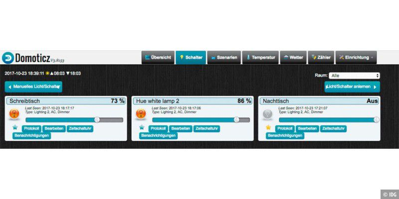Hausautomatisierung mit der Open-Source-Software Domoticz