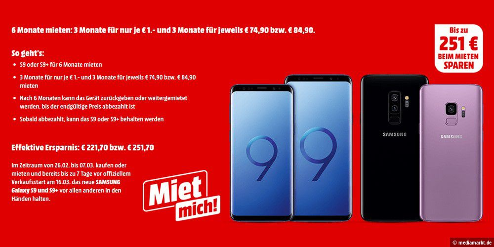 mediamarkt bietet galaxy s9 s9 mit bis zu 251 euro rabatt. Black Bedroom Furniture Sets. Home Design Ideas