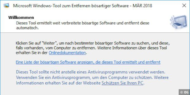 Windows-Tool zum Entfernen bösartiger Software, Version 5.58