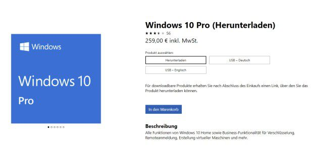 Windows 10 kostet bei Microsoft als Pro-Version 259 Euro.