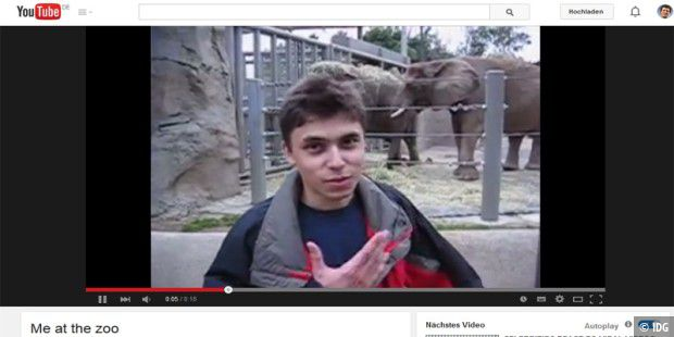 """Me at the zoo"" war das allererste Youtube-Video."