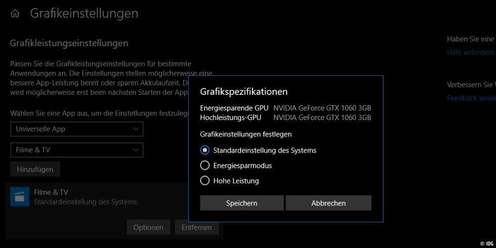 Windows 10 April-Update: Neue Grafikeinstellung nutzen