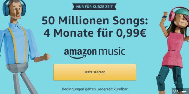 Amazon Music Unlimited: 4 Monate lang für nur 99 Cent testen
