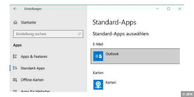 Standard-Apps in Windows einrichten.