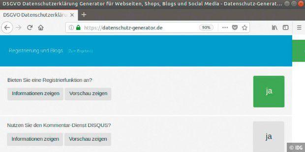 Datenschutzerklärung: Den Text der Erklärung erstellen schnell über https://datenschutz-generator.de.
