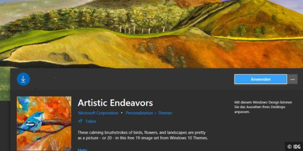 "Das Wallpaper-Pack ""Artistic Endeavors"" von Microsoft für Windows 10"
