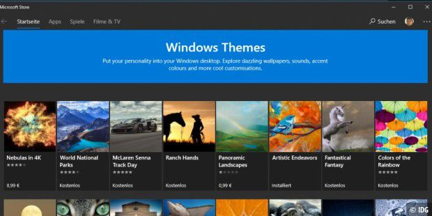 Auswahl an Windows Themes im Microsoft Store