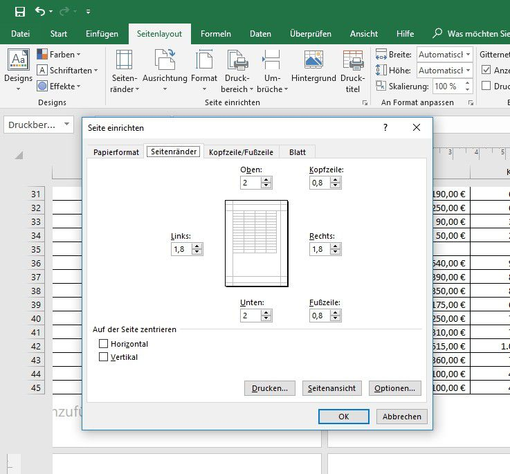 Excel hintergrund ohne rand