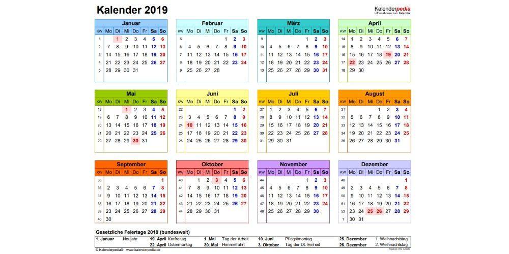 Kalender 2019 Kalenderpedia