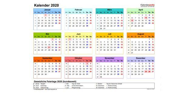 Kalender 2020 Gratis Zum Ausdrucken In Vielen Formaten Pc Welt