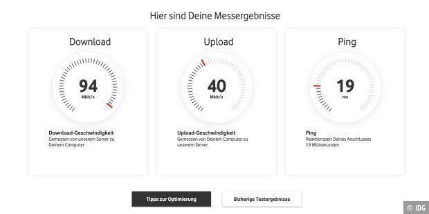 Das Ergebnis unseres Tests bei einer 100 Mbit-Leitung, die aber nicht von Vodafone stammt und kein Kabelanschluss ist.
